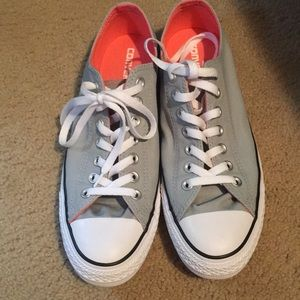 Converse shoes with pink inside and light gray